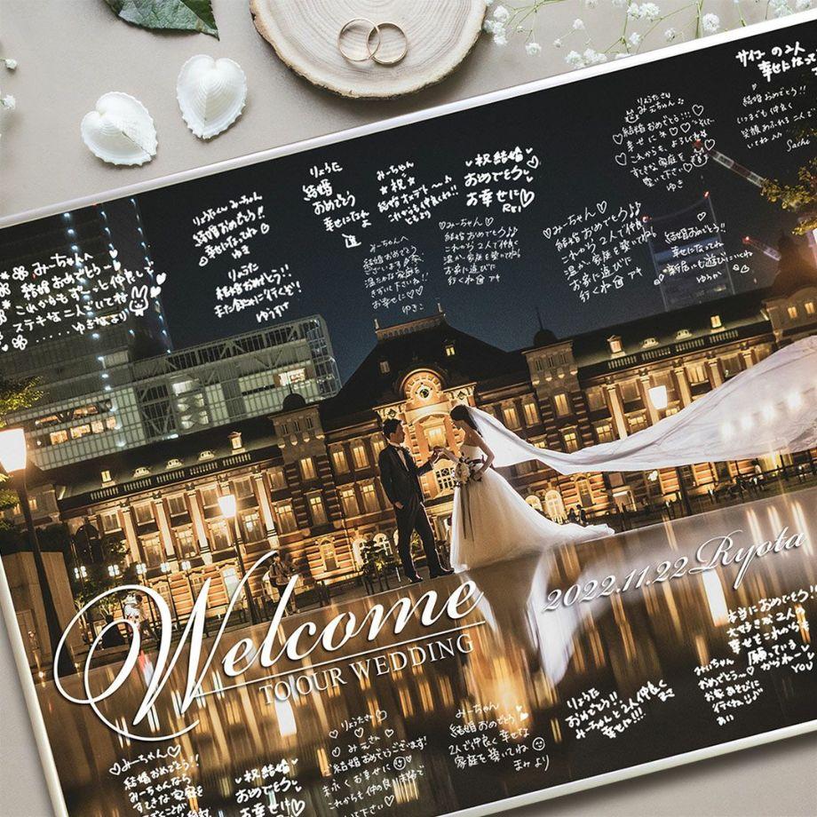 写真ウェルカムボードにゲストがお祝いのメッセージを書いたイメージ