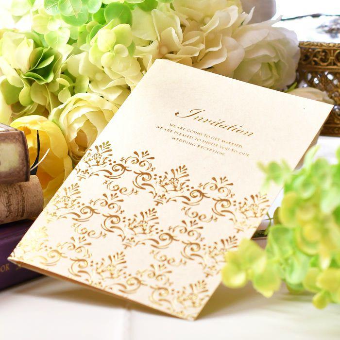 ゴールドが上品でクラシカルなデザインの招待状手作りセット