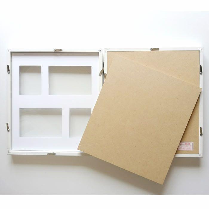お写真は背面のカバーを外して台紙の枠線に沿って貼り付ければOK
