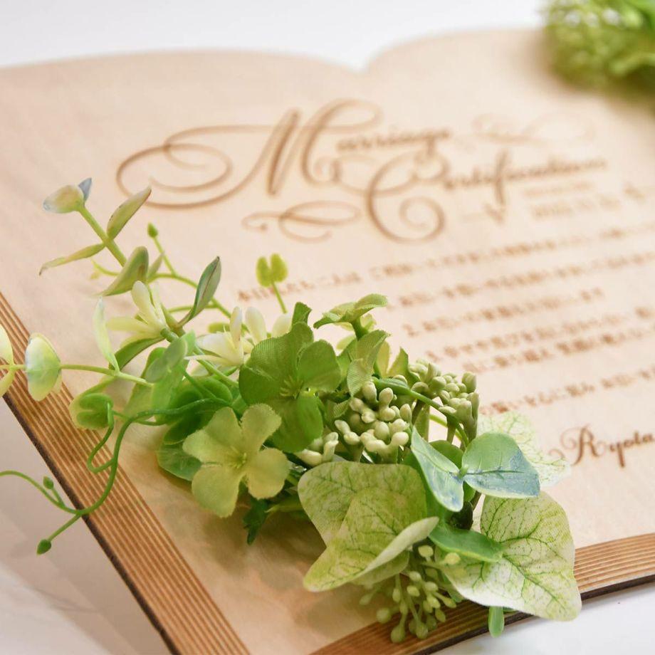 大人なイメージのネイビーのアーティフィシャルフラワーアレンジ結婚証明書