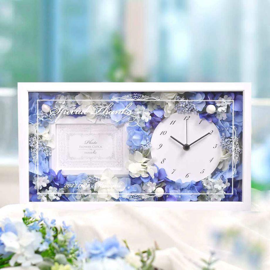 贈ったあと、お部屋に飾りやすい自立式の置き型時計。ホワイトのフレームはどんなインテリアにもなじみます