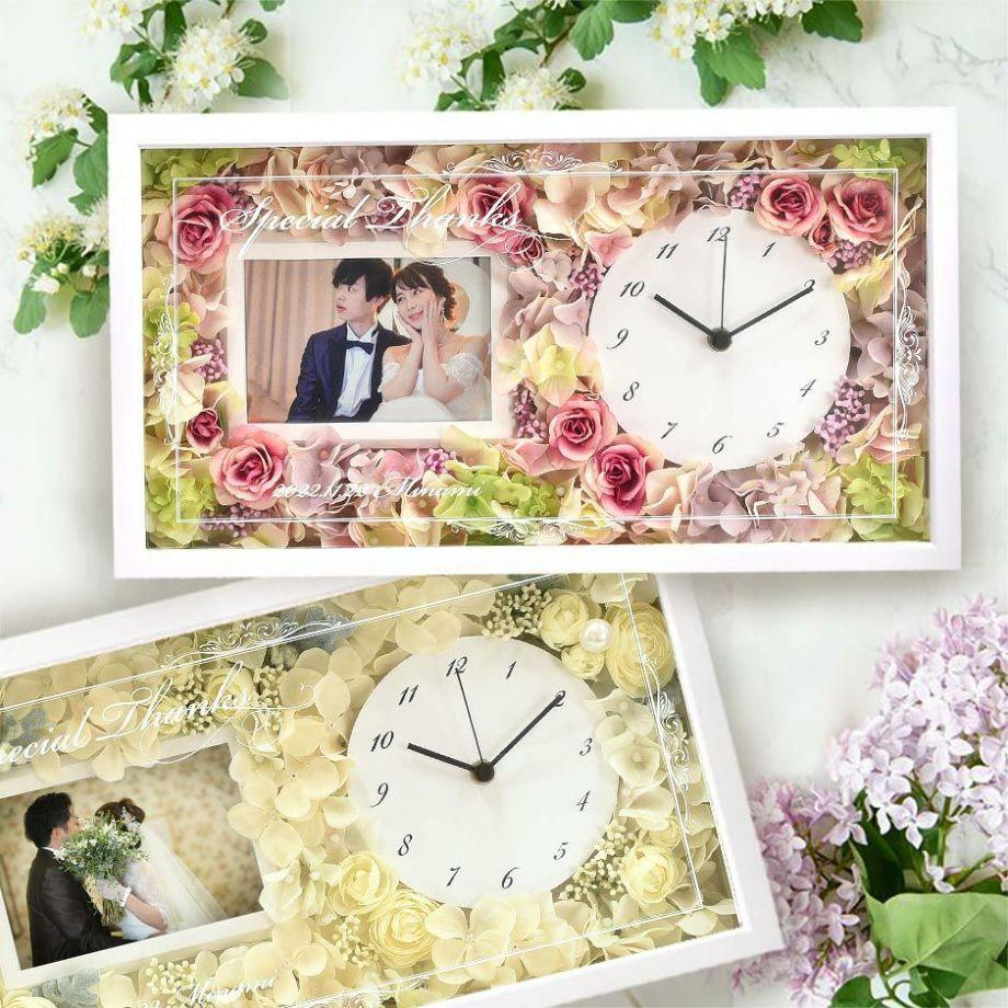お花をアレンジした時計に好きな写真をセットして贈れるフォトフレーム花時計の両親贈呈品