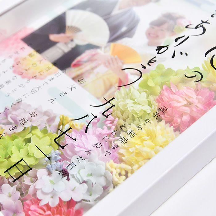 ガラス面に配置された透明フィルムに印刷してあるのは、オリジナルメッセージと誕生から結婚までをカウントした日数。