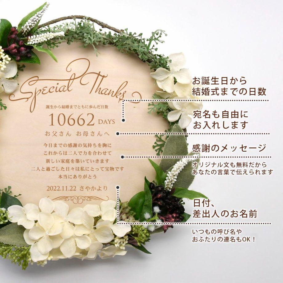 木製ボードに刻印してある数字は誕生から結婚までをカウントした日数