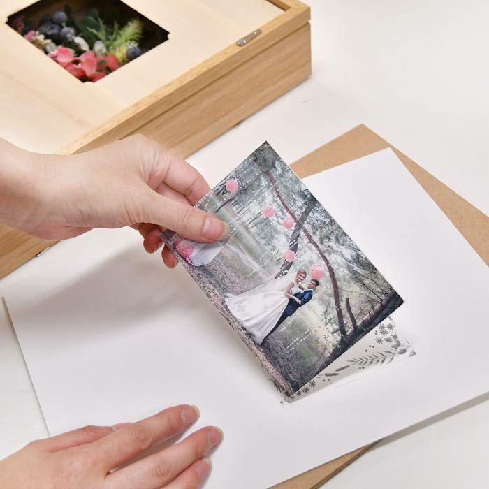 お写真は台紙についている両面テープに貼り付けてボードにセットすれば完了