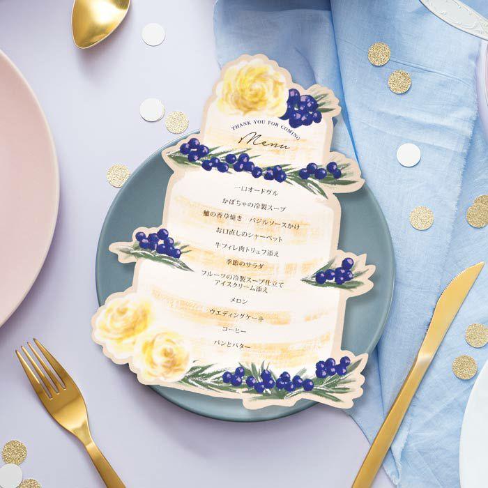 ウェディングケーキをかたどったおしゃれなメニュー表