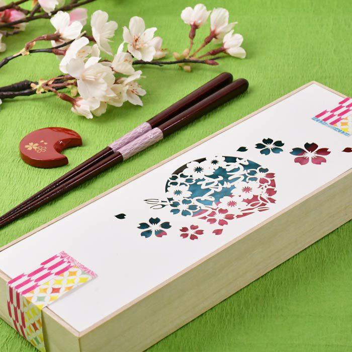 即日出荷!お箸と箸置き×桜デザインの親ギフト