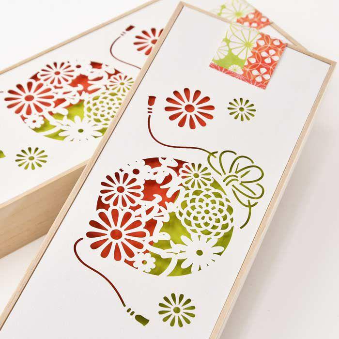 桐箱×ホワイトペーパーのパッケージに和デザインをレーザー彫刻