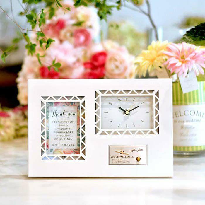 即日出荷のオルゴール付き時計の両親プレゼント