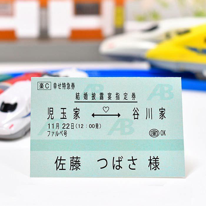 鉄道ファン・電車好きにはたまらない、まるで本物!?な新幹線チケット風の席札