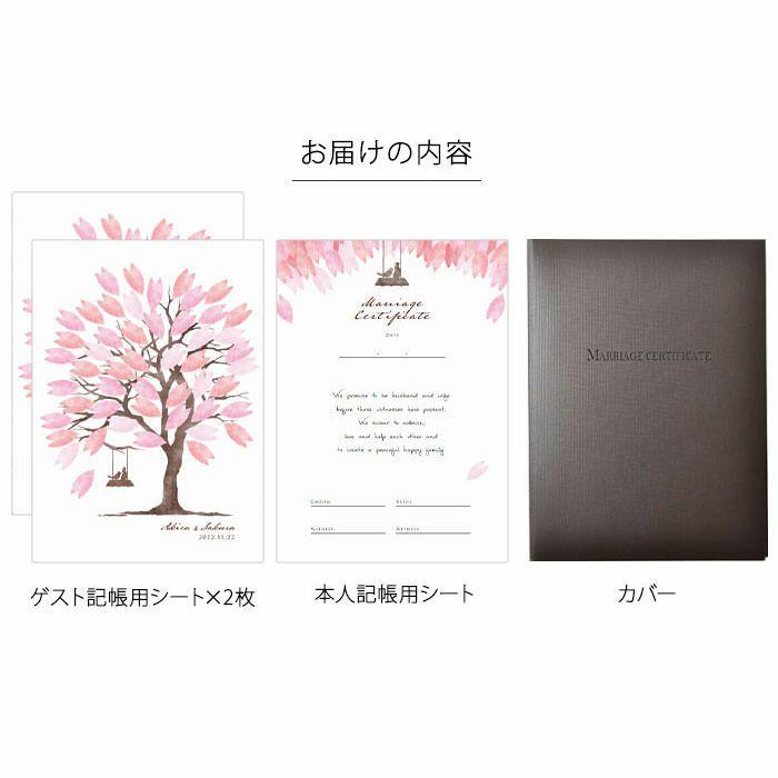 桜のウェディングツリーのゲスト参加型結婚証明書お届けの内容