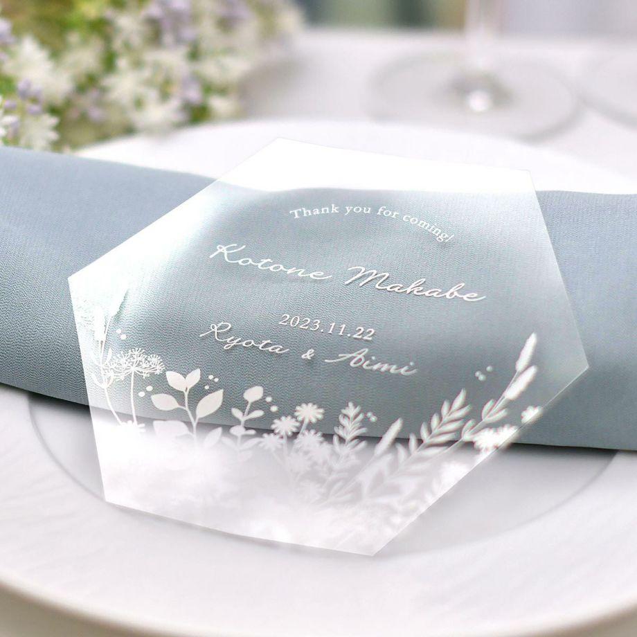 結婚式の席札として使えるおしゃれなボタニカル柄のトークシールド