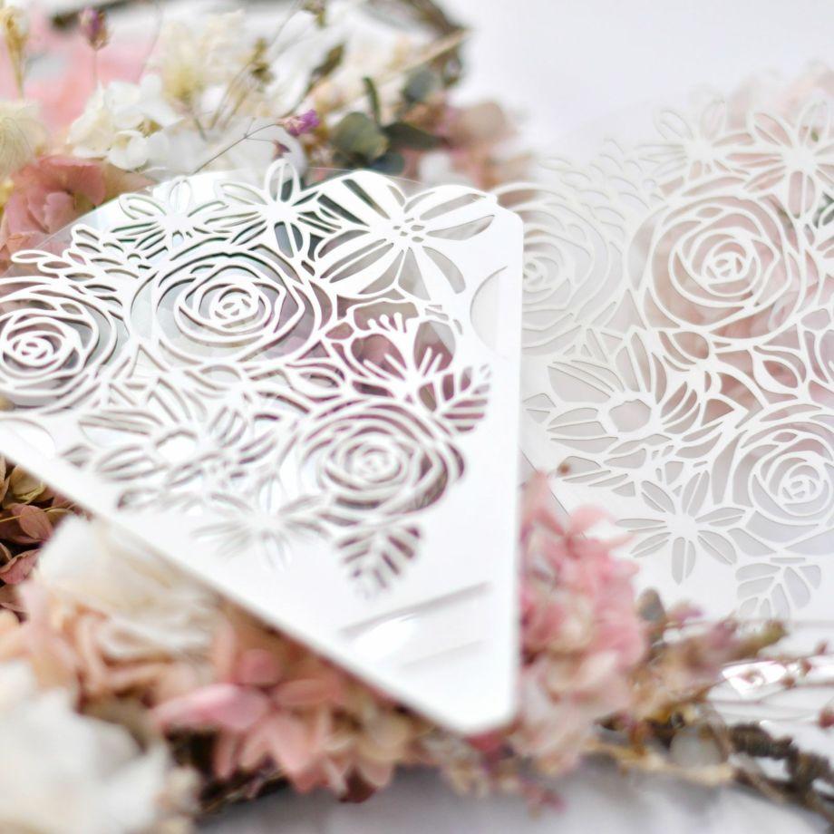 花束に見立てた華やかで繊細なデザインのフェイスシールド