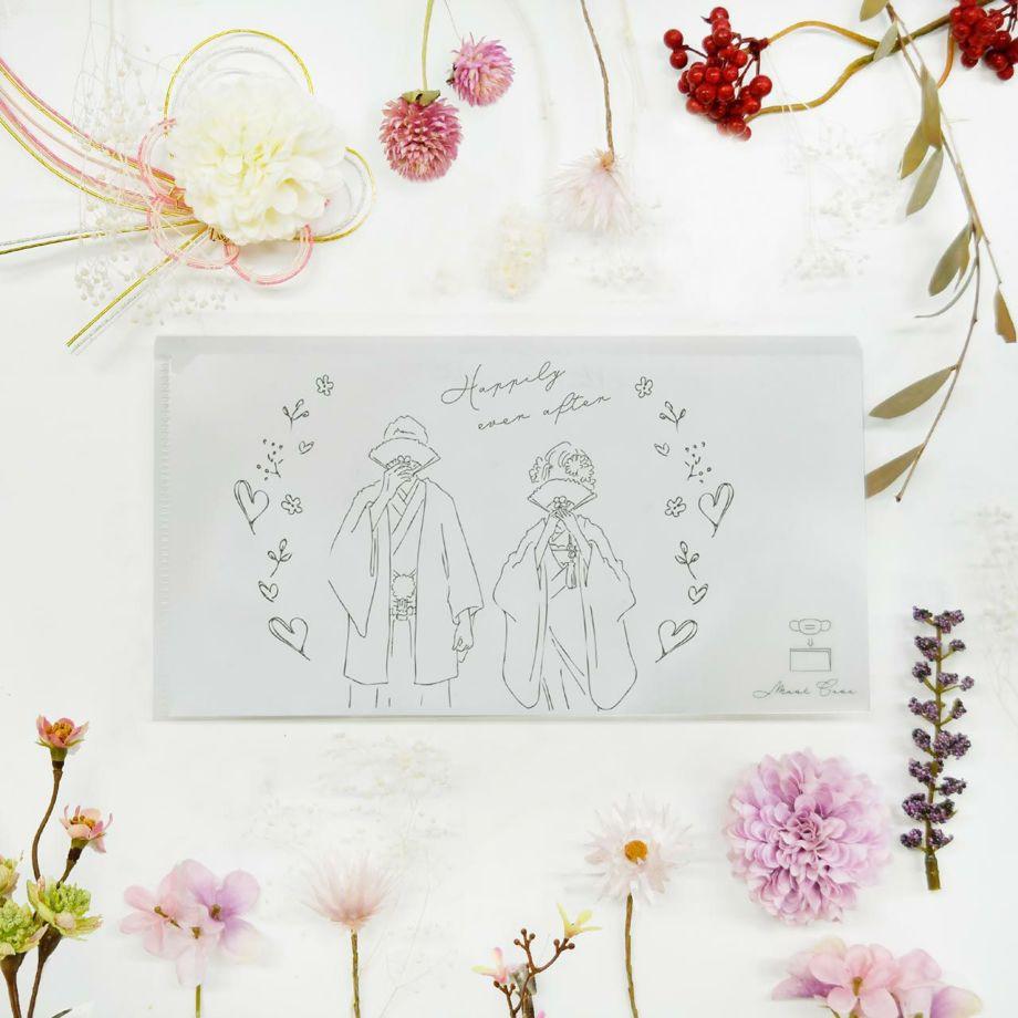 結婚式で配るためにデザインされた抗菌マスクケース
