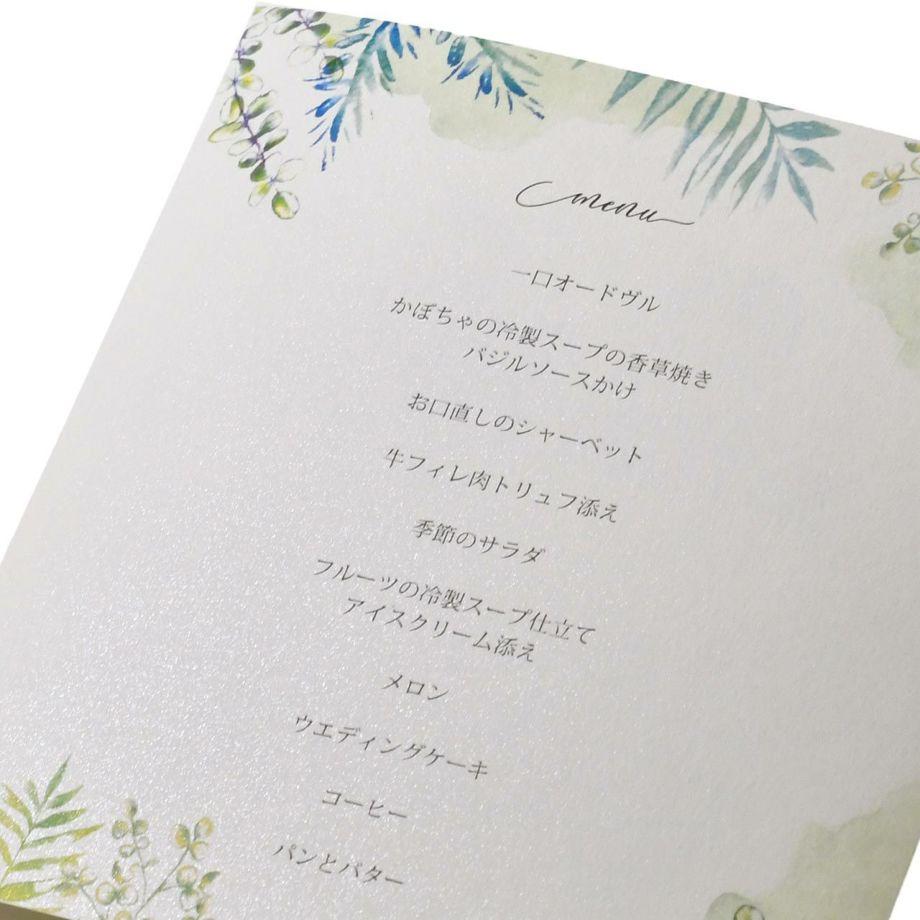 家族婚プロフィールブックにはメニュー表も入ります