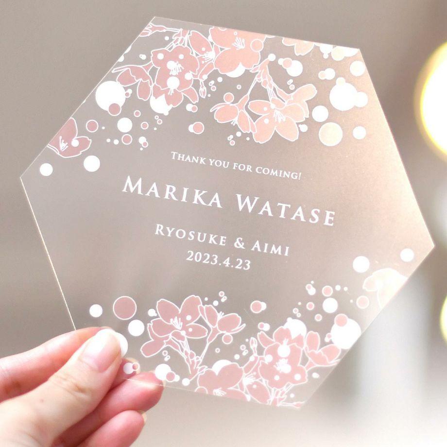 結婚式で使えるクリア素材の「フェイスマウスシールド」春婚にぴったりのおしゃれな桜デザイン