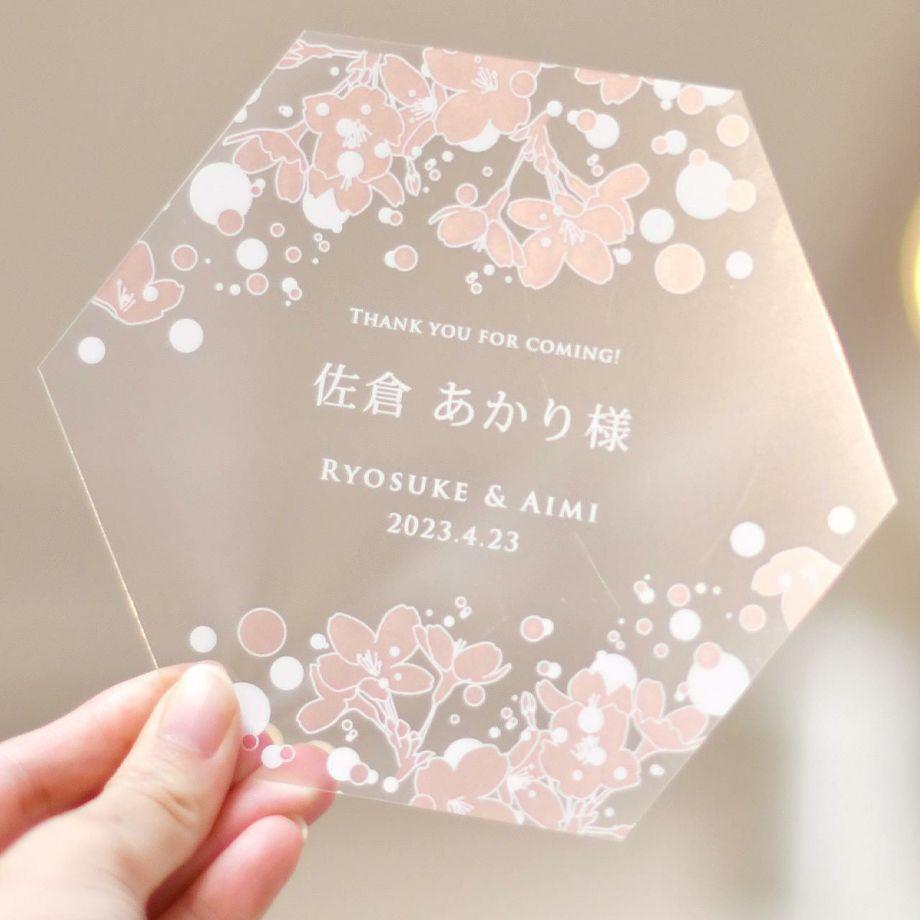 透明フィルムシートに桜デザインが印刷されたトークシールド