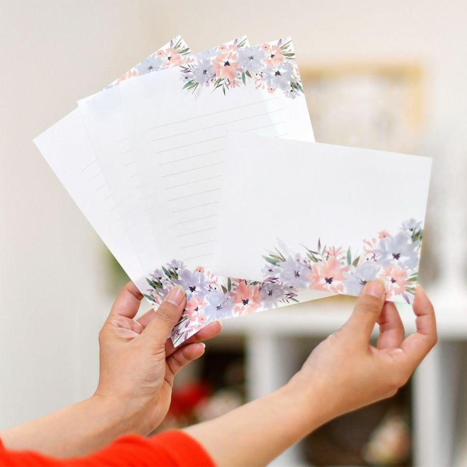 おしゃれなナチュラルデザイン抗菌・抗ウイルス紙をつかった花嫁の手紙レターセット