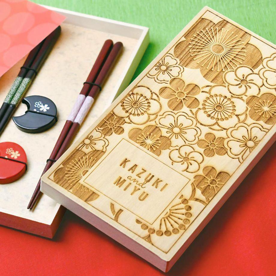 贈って喜ばれるぺアの夫婦箸と箸置きの結婚祝いのプレゼント