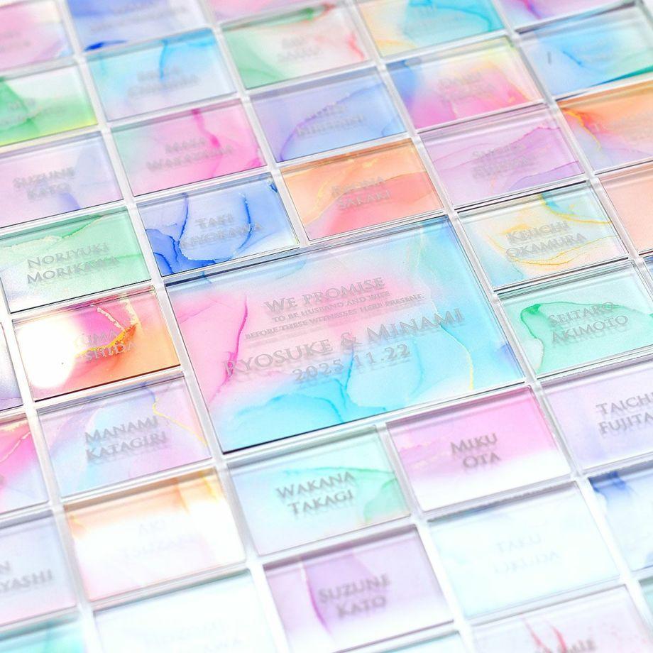 ゲストが置く位置によっていろいろな配色を作り出す、世界に一つのメモリアル証明書