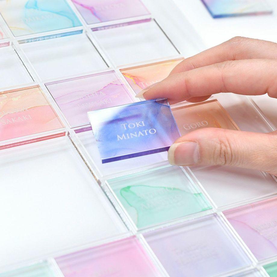 ゲストのお名前入りプレートをはめて完成させるゲスト参加型のアクリル製結婚証明書