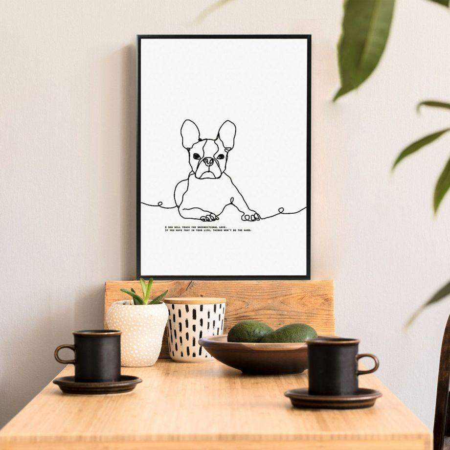 おしゃれな線画イラストの犬をデザインしたインテリアポスター