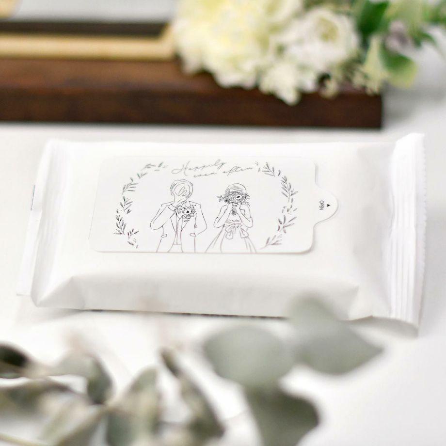 アルコールティッシュにおしゃれな線画イラストがデザインされた結婚式用気配りアイテム