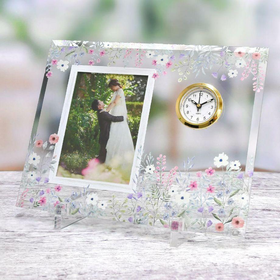 メッセージカードはお写真に入れ替えてフォトフレームとして使えるガラスの子育て感謝状