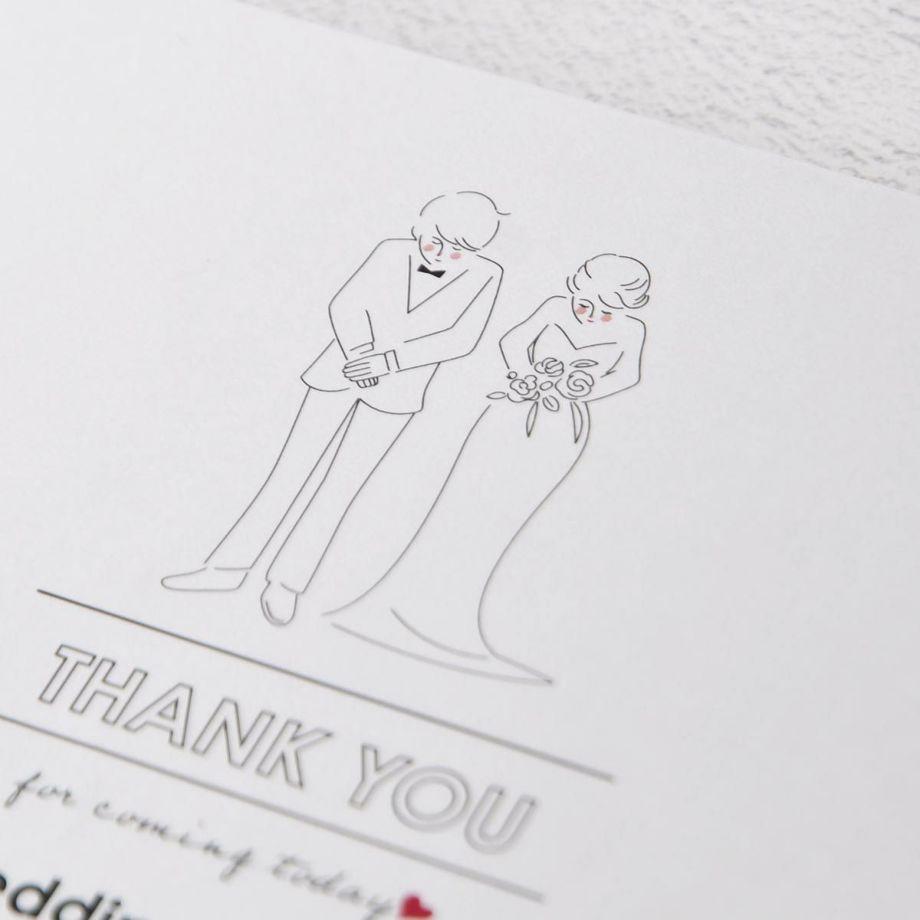 おじぎをする新郎新婦の線画イラスト入り抗菌マスクケース