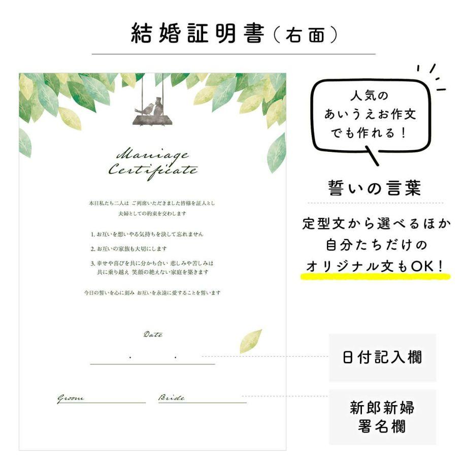 結婚証明書誓いの言葉と新郎新婦の署名欄、日付欄